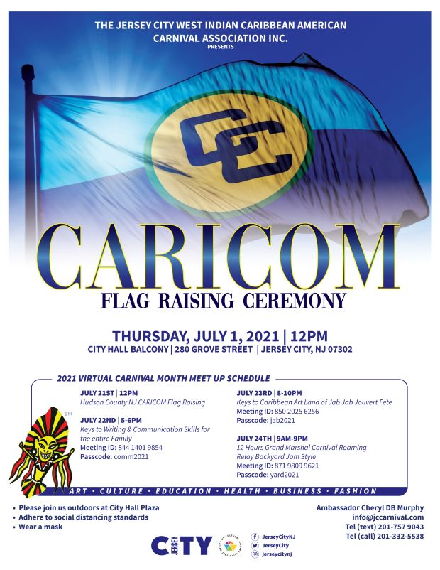 CARICOM flag raising flyer. wordage depicting event. The flag features a blue background, but the upper part is a light blue representing sky and the lower, a darker blue representing the Caribbean Sea. The yellow circle in the centre represents the sun on which is printed in black the logo of the Caribbean Community, two interlocking Cs.