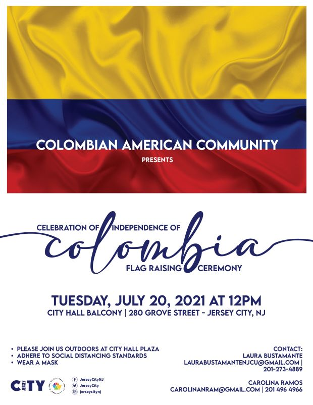 Columbian Flag depicted across top. It consists of a horizontal tricolor of yellow (double-width), blue and red with a white circle outlined in red and the coat of arms of Colombia defaced in the centre