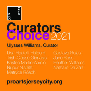 Curators Choices flyer. Organge sqaure with fuchsia and black wordage