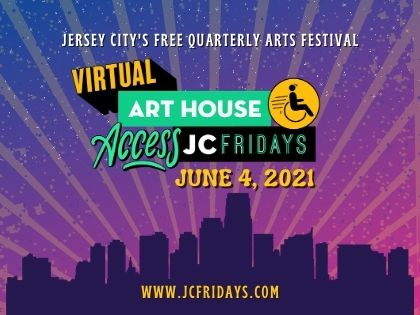 JC Fridays June 4 Flyer Skyline silhouette background is ombre purple to fuschia with sun rays featured