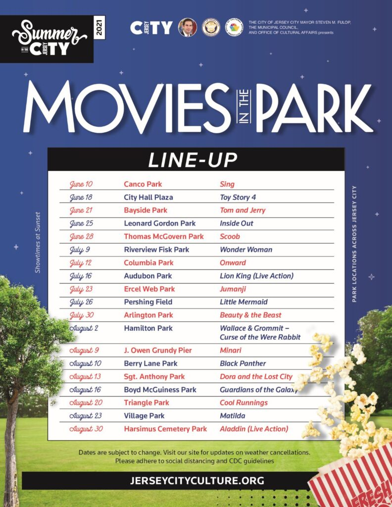 """Flyer is entitled """"Movies in the Park"""". Park like setting. Starry night sky """""""