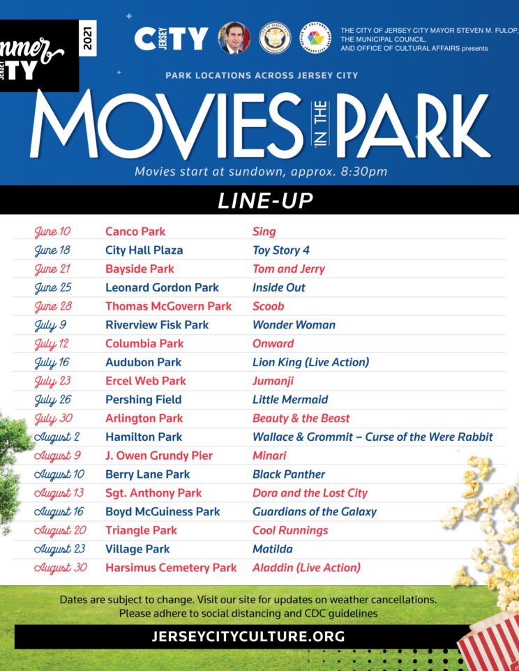 """Flyer is entitled """"Movies in the Park"""". Park like setting. Starry night sky """"pictured in a park"""