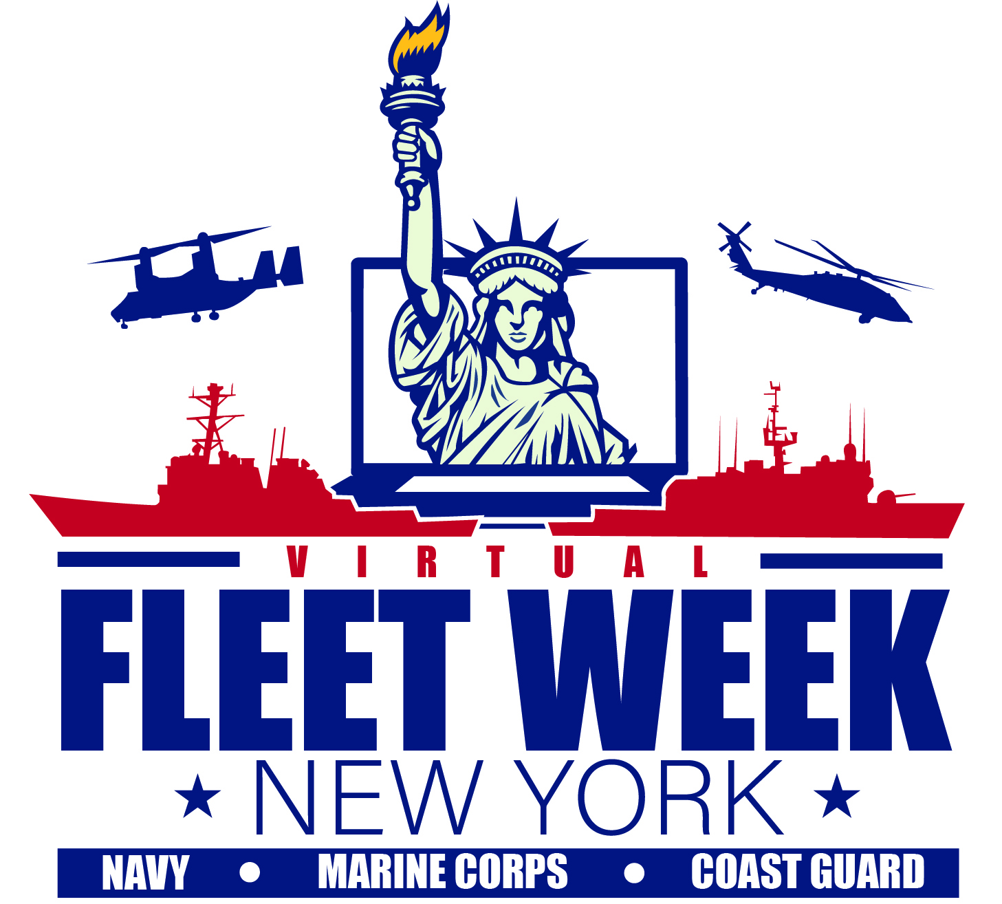 Fleet Week Logo White background Blue Outline of Statue of Liberty, blue helicopters and red ships