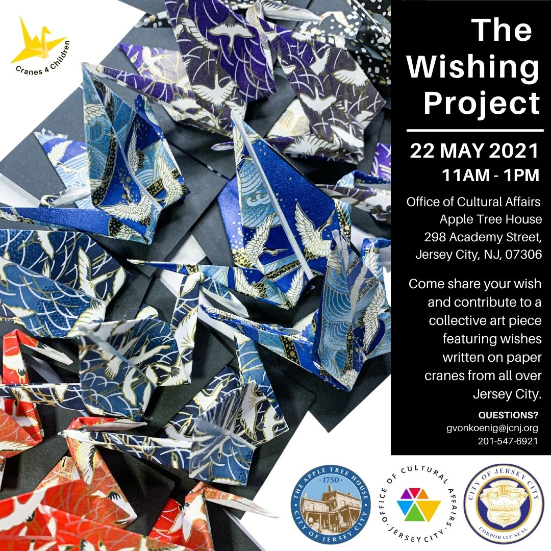 Wishing Project Flyer Color printed origami cranes pictured with white wordage detailing event in a black vertical box