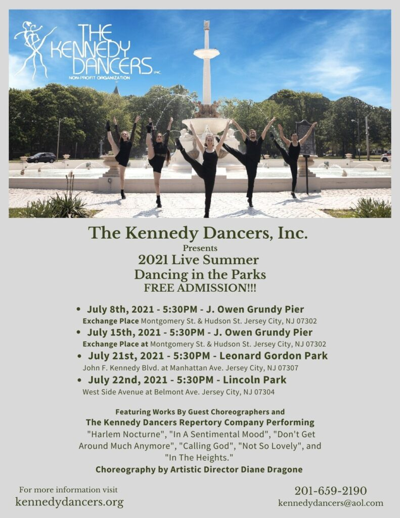 Flyer with dancers performing in an outside venue. Wordage detailing events down center