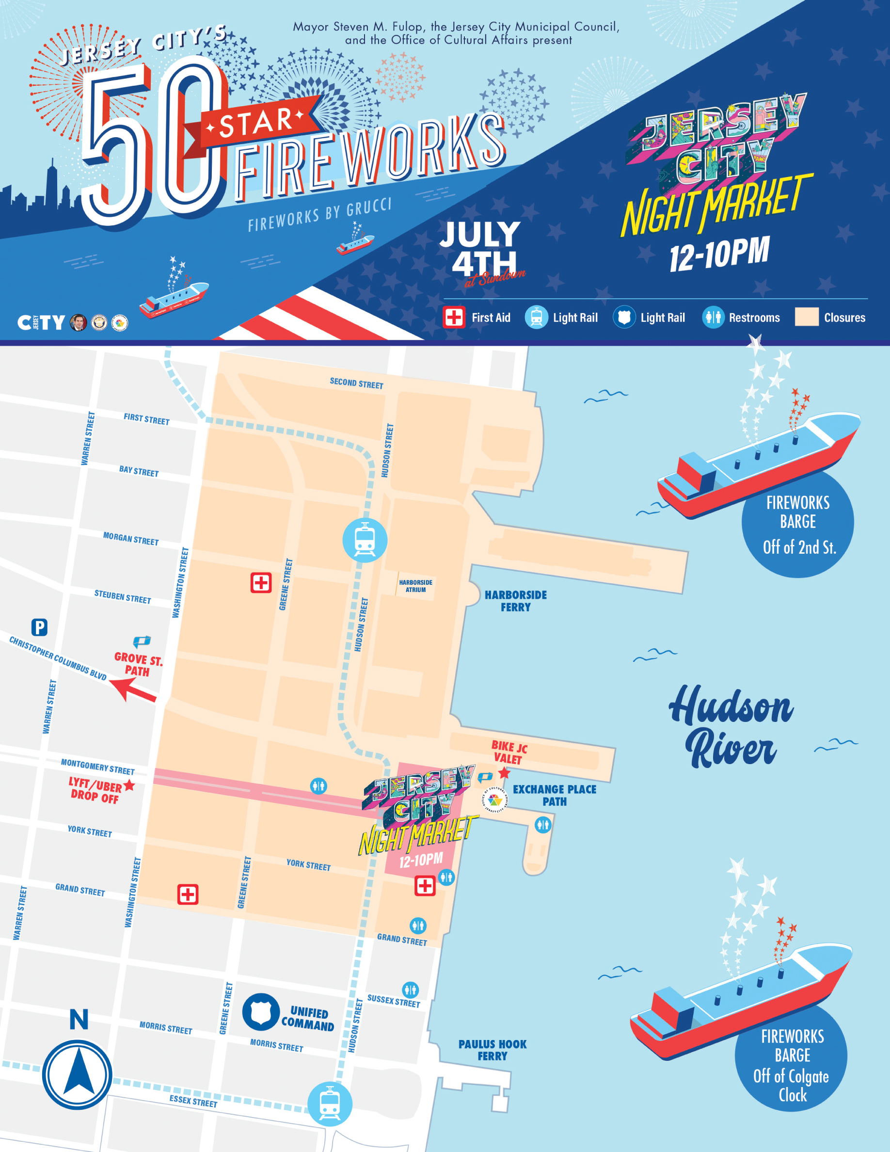 Jersey City 50 Star Firework 2021 map Showing area of exchange place by the water.