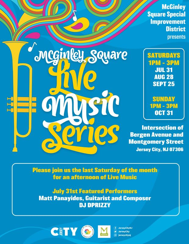McGinley Square Flyer Light blue background. A yellow horn is pictured in the far left colorful swirls of music coming from inside it. Wordage down center