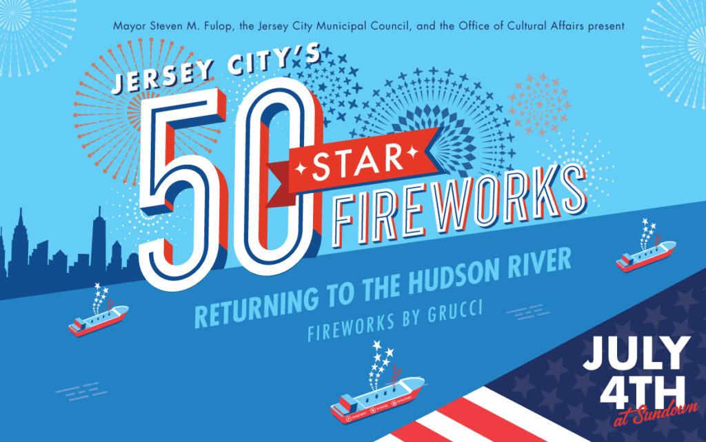 July 4th flyer New York skyline with barge floating in hudson river. Background shades of blue wordage white and red