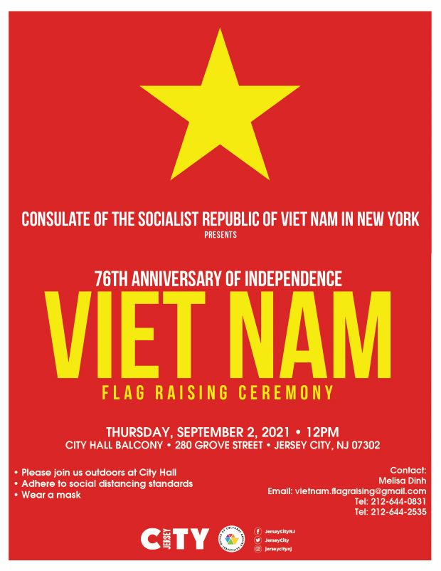 The flag of Vietnam features a yellow five-pointed star on a red background. The flag is a symbol of the country's struggle against domination by the French and communist leadership. The star on the flag represents the country's national unity despite its turbulent past. This flag is the background for the flyer. Gold wordageappears detailing the event.