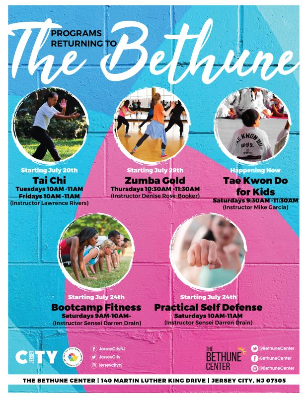 BETHUNE CENTER PROGRAM FLYER Light blue and pink background Circles with pictures of programs are depicted