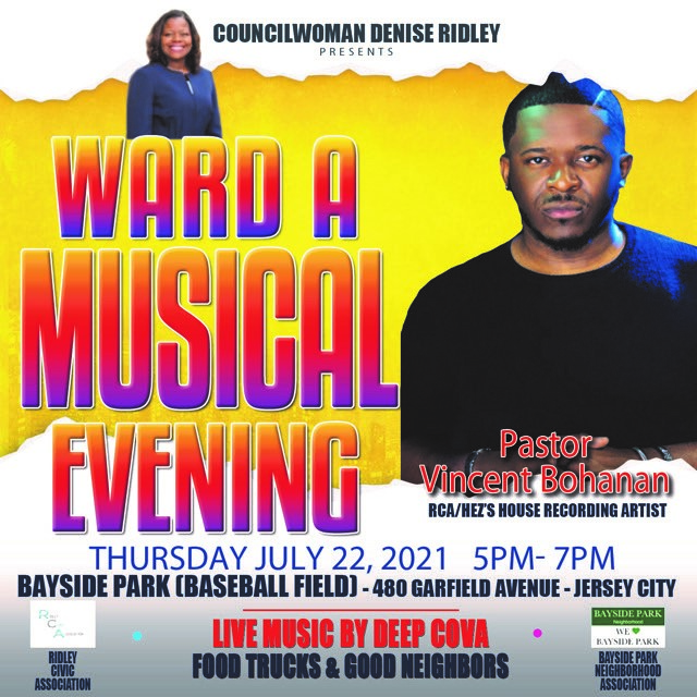 WAR A JULY 22 FLYER. BRIGHT YELLOW WITH RED AND PURPLE LETTERING PIC OF MUSICIAN AND DENISE RIDLEY