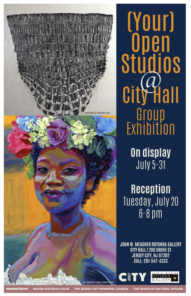 Your Open Studio Exhibition flyer Woemn wearing a colorful floral wreath on her head. Above which is a geometirc