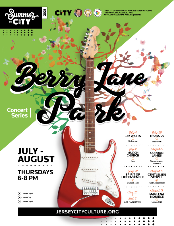 Berry Lane Park Concert series flyer. White then green diagonally split background. Guitar centered with foliage behind it. Wordage detailing event