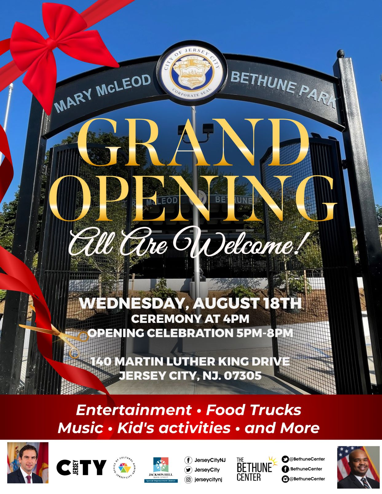 Flyer depicts the front park gate openinging. Bright blue skys, a big red bow on left with gold and white wordage detailing event down center of flyer.
