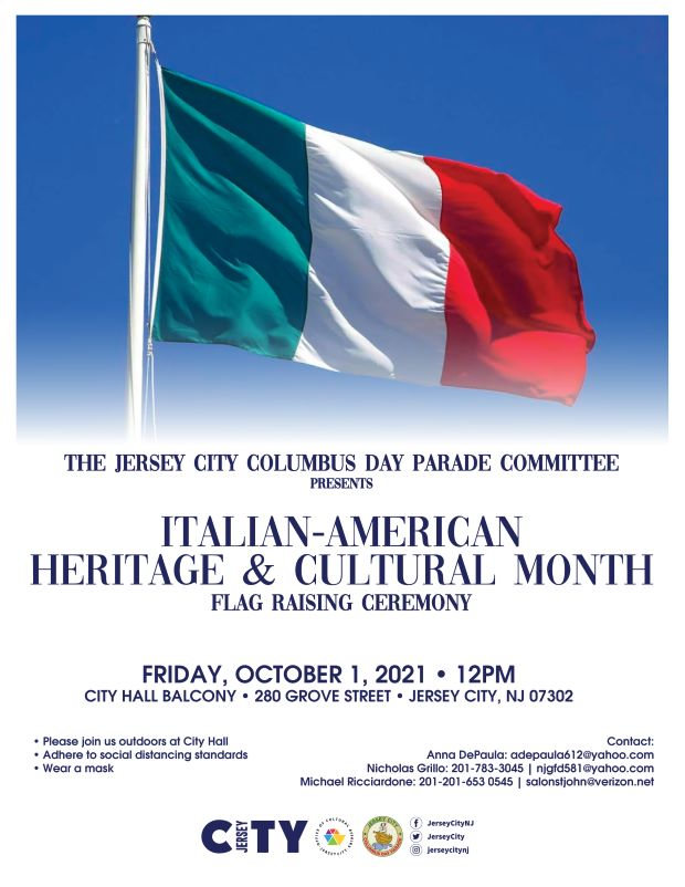 """The Italian flag is pictured on top of the flyer. The flag is a vertical tricolor flag that is known in Italian as il Tricolore. It features three bands of equal sizes, with green located on the left """"hoist"""" side, white in the middle, and red on the right. The design is very similar to the tricolor flag of France from 1790. Wordage detailing event is underneath"""