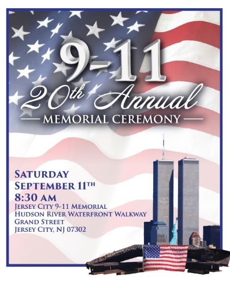 9/11 flyer American flag background with twin towers in the lower right hand corner
