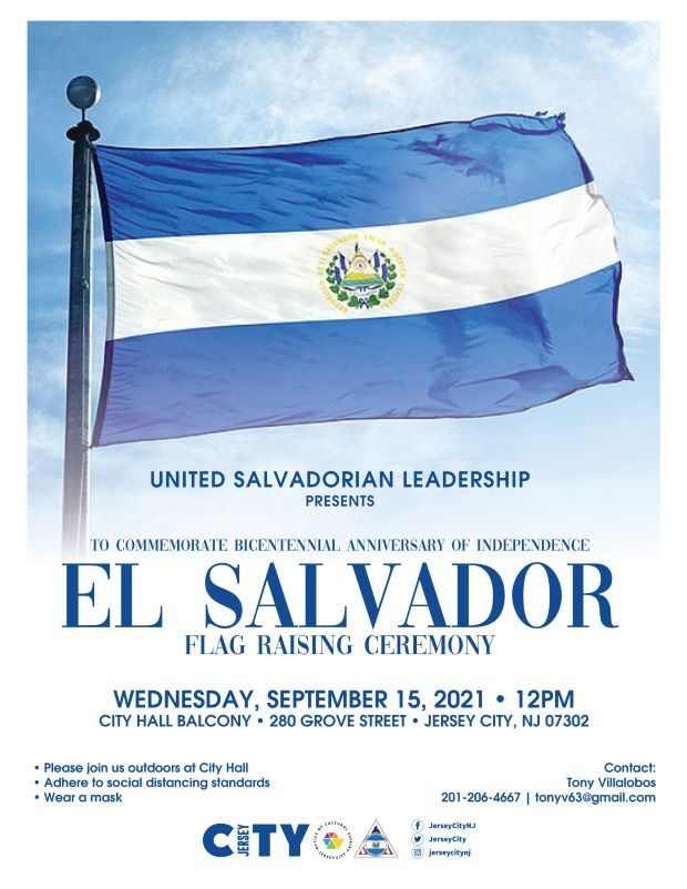 The El Salvador flag appears against a cloud filled sky.The flag of El Salvador features a horizontal triband of cobalt blue-white-cobalt blue, with the coat of arms centered and entirely contained within the central white stripe.Wordage detail event is below.