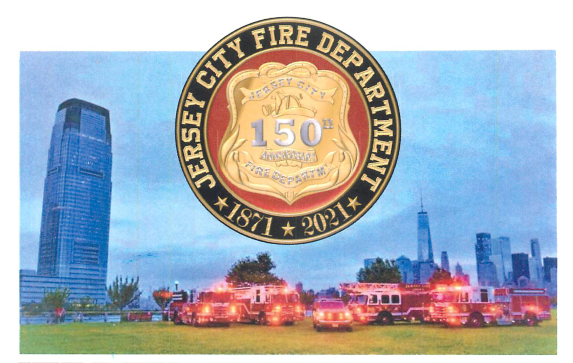 JCFD seal picture above the Jersey City skyline with fire trucks pictured