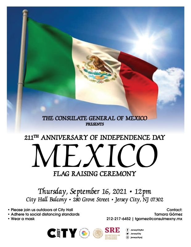 The Mexican flag appears against a cloud filled sky. The flag is designed with a tri a vertical tricolor of green, white and red with the National Coat of Arms centered on the white band. Wordage detailing event is below