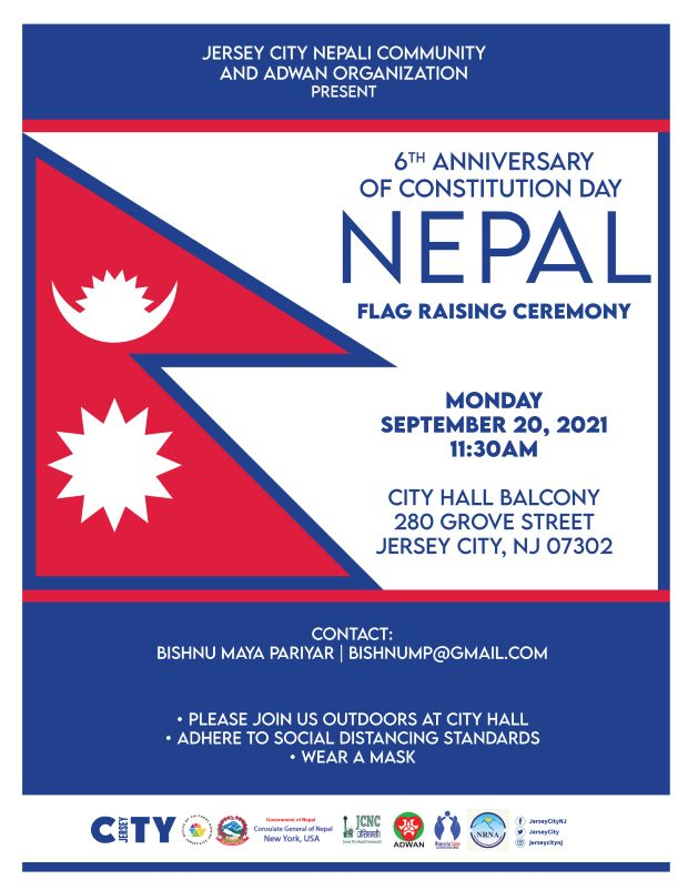The flyer has a picture of the Nepal Flag. The national flag of Nepal is the world's only national flag that is non-quadrilateral in shape. The flag is a simplified combination of two single pennons, the vexillological word for a pennant. Its crimson red is the color of the rhododendron, the country's national flower. Red is also the sign of victory in war.