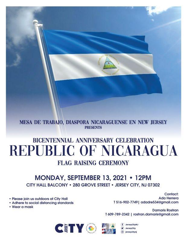 Flag of Nicaragua flys against a blue cloud filled sky . Wordage detailing event is below