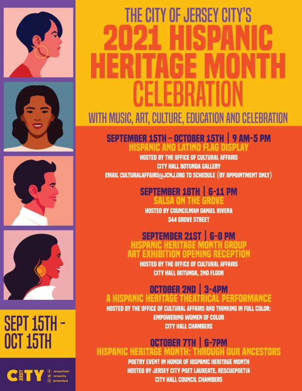 Flyer has bright shades of orange red and deep golds with cobalt blue accent. 4 people are pictured vertically on far left.