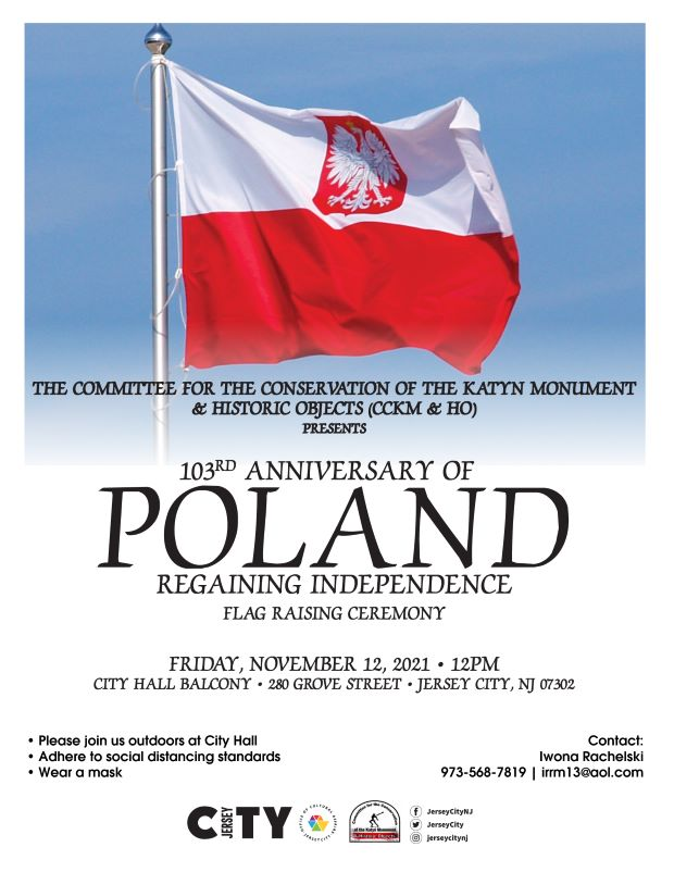 Polish Flag Raising Red background with a vertical stripe of white across top
