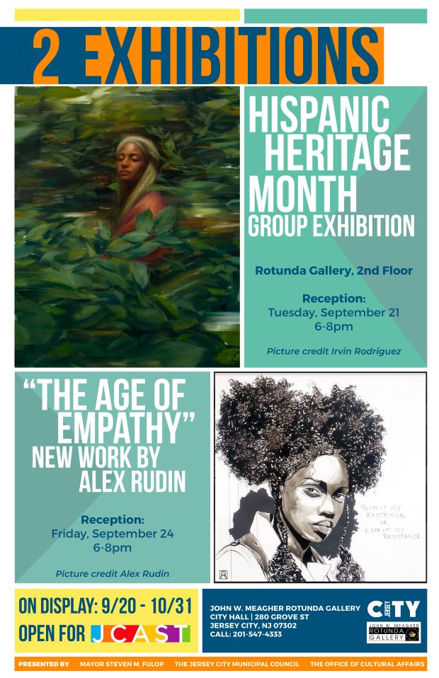 Flyer which promoted 2 exhibitions at the Rotunda Gallery. 2 rectangular blocks for each, one with wordage about the exhibit The other with a woman pictured or sketched
