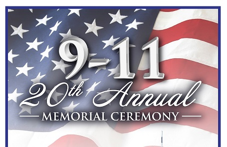 American flag background with 9-11 20th Annual Memorial Ceremony