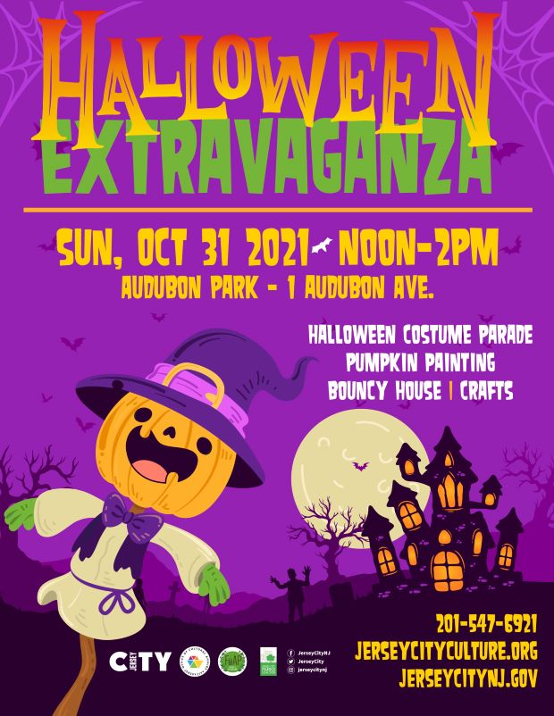 Flyer has a purple background. Halloween Extravaganza is written across top in gold and green. Wordage detailing event is below. Night time setting with a scarecrow with a Jack O' lantern head and haunted house pictured against a moonlight sky.