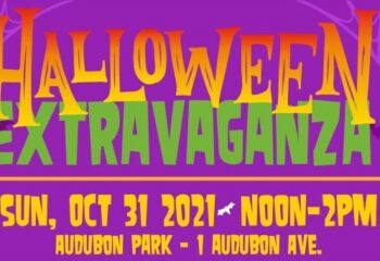 Flyer has a purple background. Halloween Extravaganza is written across top in gold and green. Wordage detailing event is below.