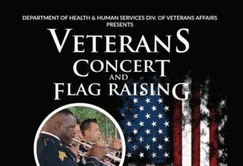 BLACK BACKGROUND WITH A WEATHERD AMERICAN FLAG HANGING VERTICALLY. mID SIZE CIRLED WITH IMAGE OF MILIARY BAND PLAYING WHITE WORDAGE DETAILING EVENT