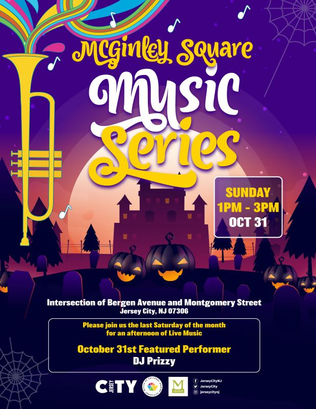 Flyer background is a scary Halloween night setting. Graves, black pumpkins, pine trees and building against a moonlit sky. Gold vertical trumpet on far left with rainbow musical swirls coming out of it. Wordage detailing event down the cente